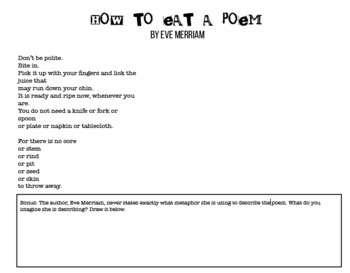 """""""How To Eat a Poem"""" by Eve Merriam Poetry Study"""