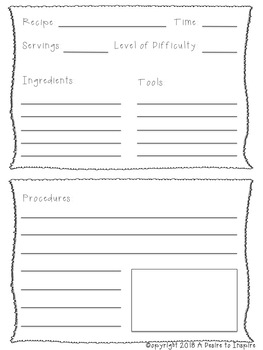 """How To"" Recipe Cards and Writing"