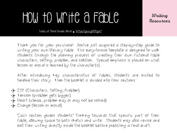 """How To Write a Fable"" Student Booklet"