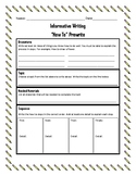 """How To"" Writing Graphic Organizer- Informational"