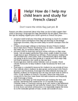 """How do I help my French student?"" Parent Handout"