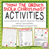"""""""How the Grinch Stole Christmas"""" Activities Crossword Puzzle Word Search"""