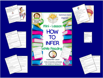 """How to Infer"" Mini-Lesson for 2nd or 3rd Grade  Worksheets for Centers Included"