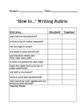 """""""How to"""" Writing Checklist/Rubric"""