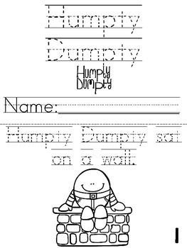 """Humpty Dumpty"" Cut, Trace, and Color Printable Book!"