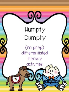 """Humpty Dumpty"" Differentiated Literacy Activities [no prep!]"