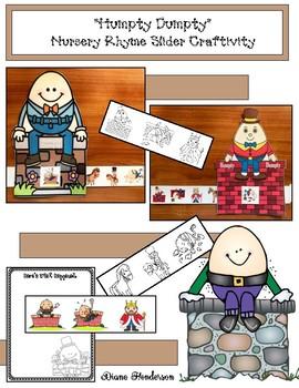 """Humpty Dumpty"" Nursery Rhyme Story Slider Craft & Writing Prompt"