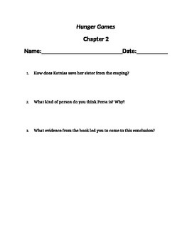 """""""Hunger Games"""" chapter questions"""