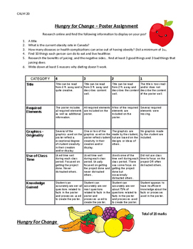 """Hungry for Change"" Questions and Poster Assignment (with Rubric)"