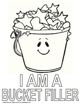 "Bucket Filler - ""I AM A BUCKET FILLER"" Coloring Page"