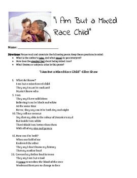 """""""I Am But a Mixed Race Child"""" Poem Analysis"""