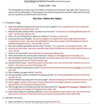 """I Am Malala"" study guide/comprehension guide"