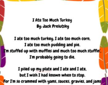 """I Ate Too Much Turkey"" poem activity."