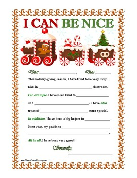 """""""I CAN BE NICE"""" Christmas Letter Writing Activity w/ Transition Words! Ginger BR"""