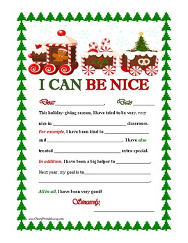 """""""I CAN BE NICE"""" Christmas Letter Writing Activity w/ Transition Words-Tree Style"""