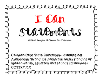 """I CAN"" Cards for Phonological Strand of Common Core State Standards"
