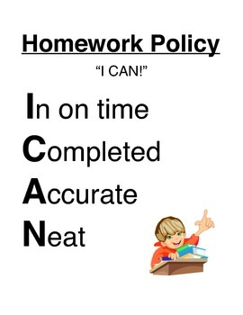 """""""I CAN!"""" Homework Policy Sign and Self-Assessment Rubric"""