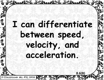 """""""I CAN"""" Statements 8th Grade Science TEKS Resource Cards UPDATED 2018!"""