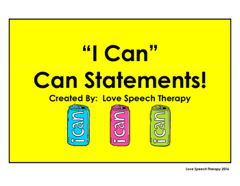 """""""I Can"""" Can Statements"""