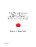 """I Can"" ELA 6 Common Core Target Goals w/ Lesson Plan Ques"