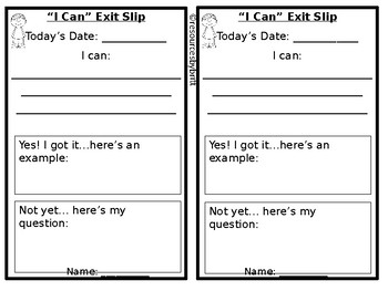 """""""I Can"""" Exit Slips"""