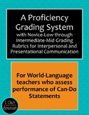 Grading for Proficiency with Novice-Low to Intermediate-Mid Grading Rubrics