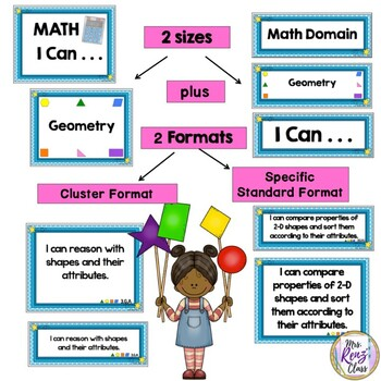 I Can Statements for Math 4th Grade Math CCSS Math Standards for Your Wall