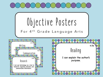 """""""I Can"""" Objective Posters - 4th Grade Language Arts {Virgi"""
