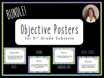 """""""I Can"""" Objective Posters - 5th Grade Bundle - 4 Core Subjects {Virginia SOL}"""
