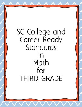 """I Can"" Objectives for SC State Math Standards (3rd)"