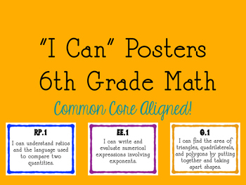 """I Can"" Statements - 6th Grade Math"