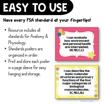 """""""I Can"""" Posters: Anatomy & Physiology Florida Standards"""