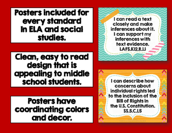 """I Can"" Posters for 5th Grade LAFS & Social Studies NGSSS Florida Standards"