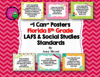 """I Can"" Posters for 5th Grade LAFS & Social Studies NGSSS"