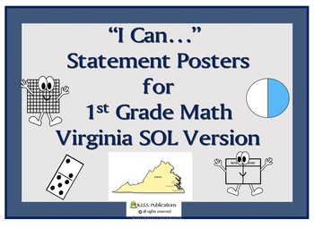 """I Can..."" Posters for 1st Grade Math Virginia SOL's"