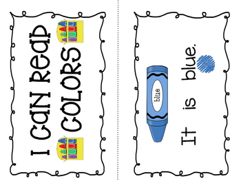 """I Can Read Colors""- Sight Word Guided Reading Booklet, Level A/B"