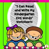 """I Can Read and Write My Kindergarten CVC Words"" Worksheet Printables"