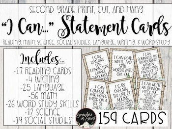 """""""I Can..."""" Second Grade Objective Cards- Ready to Print and Editable Files"""