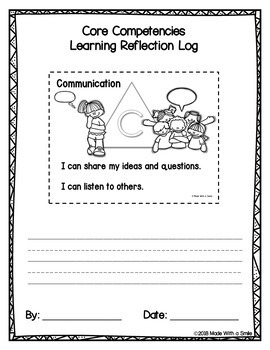 """""""I Can"""" Self-Reflection Sheets - Primary Core Competencies"""