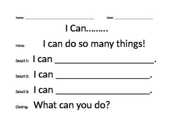 """I Can....."" Sentence Frames"