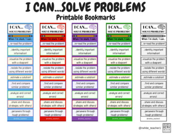 """""""I Can...Solve Problems"""" Bookmark"""