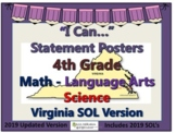 """""""I Can..."""" Statement Posters for 4th Gr VA SOL's 2019 Updated Version"""