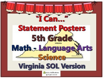 """""""I Can..."""" Statement Posters for 5th Gr VA SOL's"""