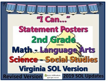 """""""I Can..."""" Statements 2nd Grade for VA SOL's with UPDATED 2017 SOL's"""