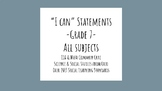 """I Can"" Statements - All Subjects - 7th Grade - Ohio and Common Core"