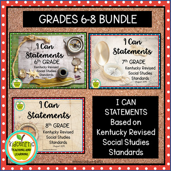 """""""I Can"""" Statements Gr. 6-8 Kentucky NEW Revised Social Studies Standards"""