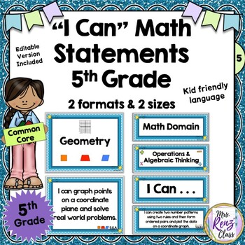 """""""I Can Statements"""" Math Poster Set for 5th Grade (CCSS)"""