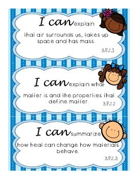"""""""I Can"""" Statements- Science Essential Standards 3rd Grade"""