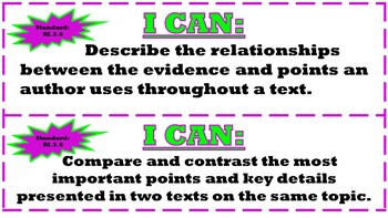 """I Can"" Statements for ALL 3rd Grade ELA Standards"