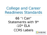 """""""I Can"""" Statements for English 9-10 CCRS"""